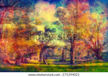 Colorful landscape painting showing forest in spring. - stock photo
