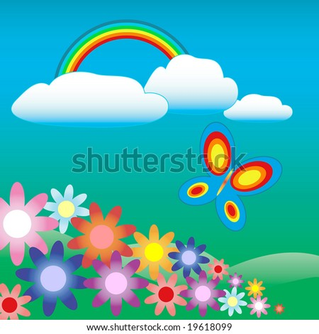 colorful landscape with flowers, butterfly and rainbow