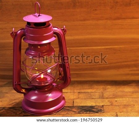 Colorful lantern on wooden background