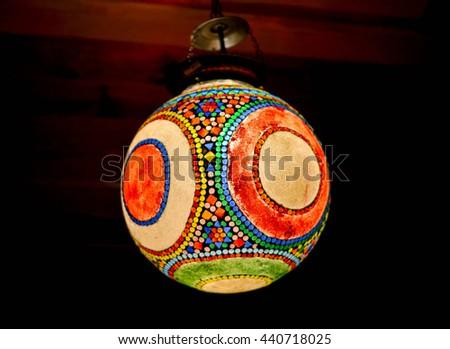 Colorful lantern with mosaic design - stock photo