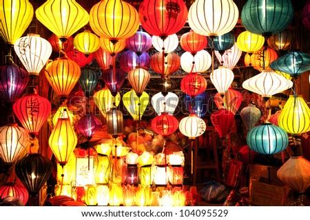 Colorful lanterns, Vietnam - stock photo