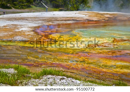 Colorful layers of bacteria in yellowstone geyser - stock photo