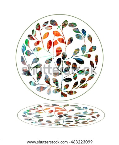 Colorful Leafy Circle with Reflection Design Element with an Upbeat Natural or Holistic Aesthetic