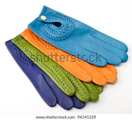 Colorful leather gloves - stock photo