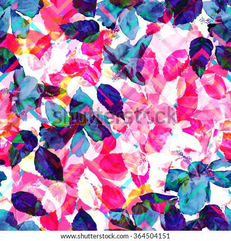 Colorful leaves background on a pink zigzag pattern. White foliage seamless pattern. Monochrome leaves tropical flowers hibiscus. Watercolor foliage. - stock photo
