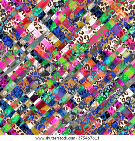 colorful leo spots and mix color smudges ~ seamless background - stock photo