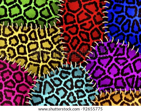Colorful leopard fur  with stitches - stock photo