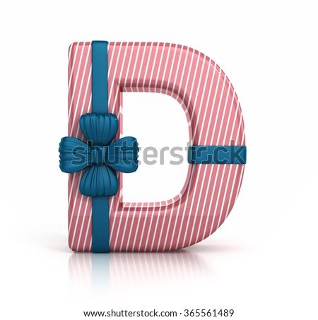 Colorful Letter D decorated with Ribbon isolated on white background. 3d render illustration - stock photo