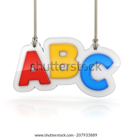 Colorful letters ABC hanging on white background - stock photo
