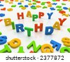 Colorful letters isolated on white background Happy Birthday - stock photo