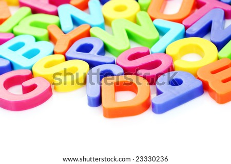 colorful letters on white background - education