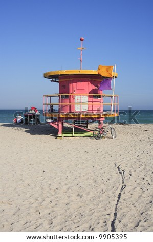 Colorful lifeguard station in South Beach, Miami. - stock photo