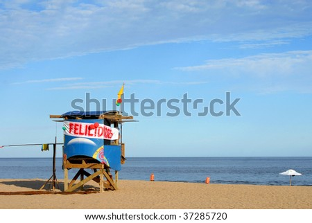 Colorful lifeguard station on the beach