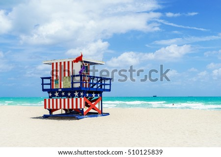 Colorful Lifeguard Tower in South Beach. Miami Beach, Florida, USA