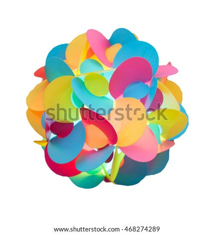 colorful light ball.Christmas garland Bright multi-colored decoration on white with clipping path