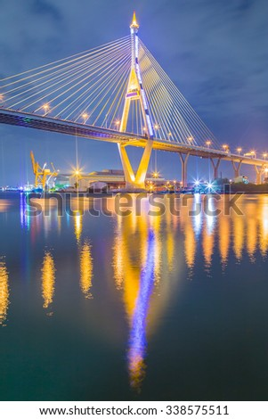 Colorful light from Bhumibol Bridge at night time. - stock photo