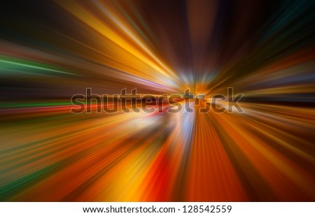 Colorful light trails with motion blur effect - stock photo