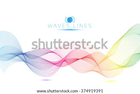 colorful light waves line bright abstract pattern rainbow raster illustration
