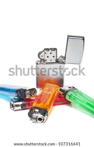 Colorful lighters and vintage one