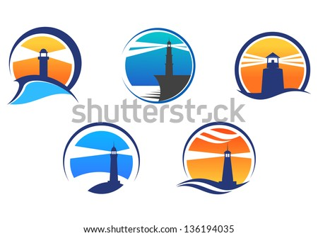 Colorful lighthouse symbols set isolated on white background for any navigation concept. Vector version also available in gallery - stock photo
