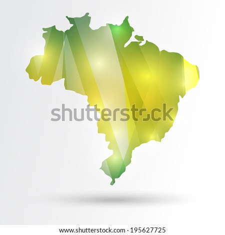 Colorful lights effects abstract Brazil map. - stock photo