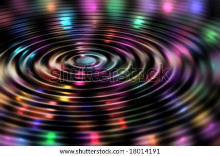 Colorful lights reflecting in water ripple