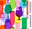 Colorful  limpid wine glasses. Seamless pattern - stock vector