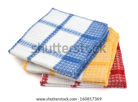 colorful  linen kitchen towels on a white background  - stock photo