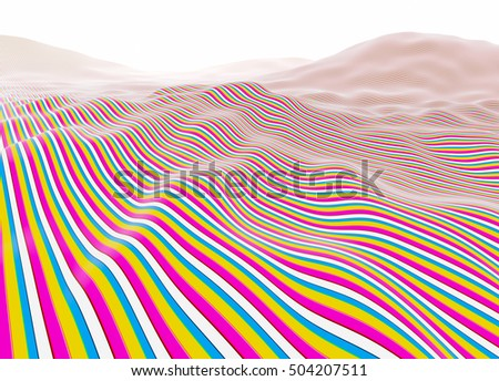 Colorful lines wavy stripes, fading to white horizon illustration