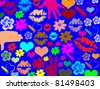 Colorful lips, hands flowers and hearts on blue texture background, vector illustration - stock