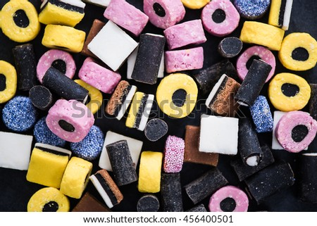 colorful liquorce candys on dark slate