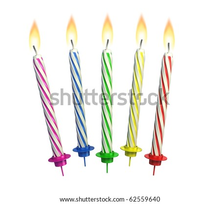 colorful lit candles isolated over white - stock photo