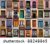 Colorful living - European doors and windows of Mediterranean - stock photo