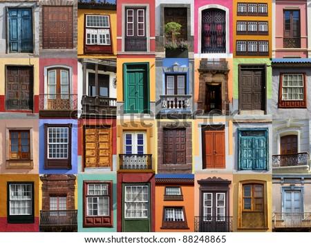 Colorful living - European doors and windows of Mediterranean - stock photo