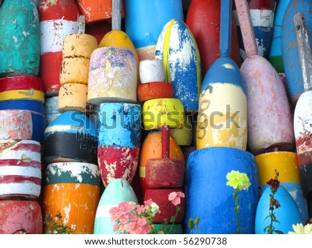 Colorful Lobster Buoys - stock photo