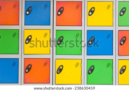 Colorful lockers as a background image - stock photo