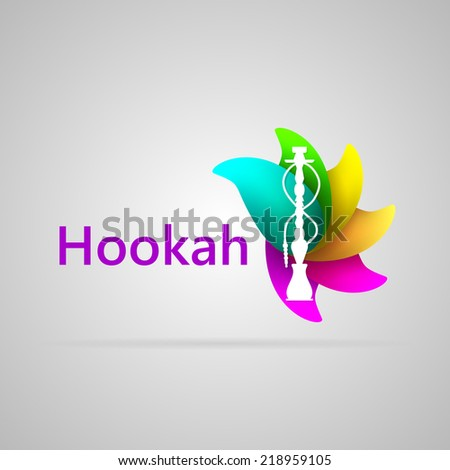 Colorful logotype for hookah. Abstract illustration of white silhouette hookah on the colorful flavor petals and word Hookah. Isolated illustration on gray. logo - stock photo