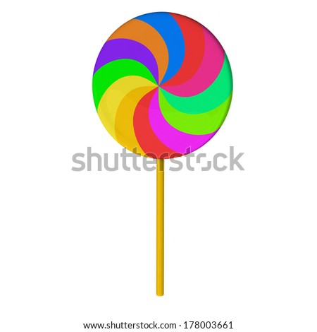 Colorful lollipop candy on stick, 3d