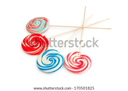 Colorful lollipop isolated on the white - stock photo