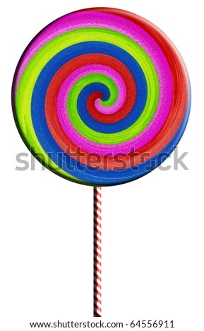 Colorful lollipop isolated on white background - stock photo