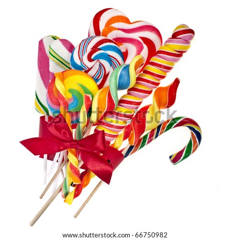 colorful lollipop with red ribbon bow isolated on white - stock photo