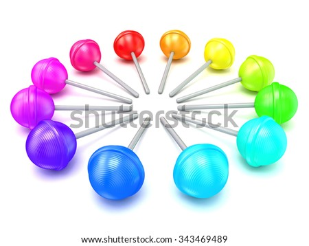 Colorful lollipops, circle arranged. 3D render illustration isolated on white background