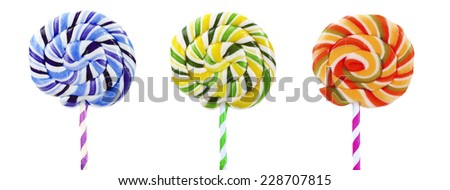 Colorful lollipops isolated on white - stock photo