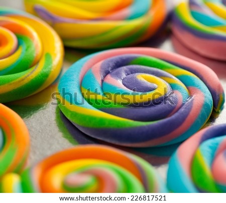 Colorful lollipops - shallow DOF. - stock photo