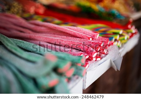 Colorful lollipops - shallow DOF. - stock photo