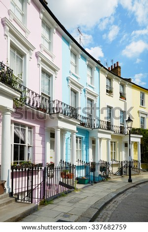 Colorful London houses in Primrose hill, english architecture - stock photo