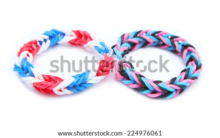Colorful loom bracelet rubber bands isolated on white background - stock photo