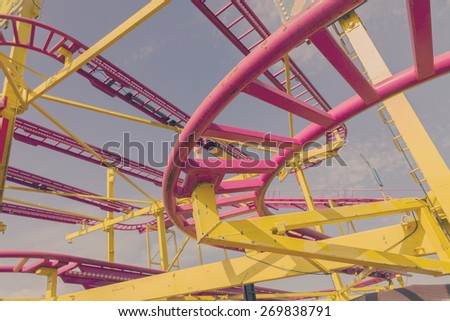 colorful loops of ride close up, retro toned - stock photo