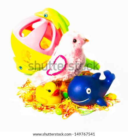 Colorful lovely toy on the white background. - stock photo