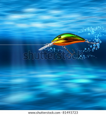 Colorful lure hunting underwater through deep blue sea - stock photo